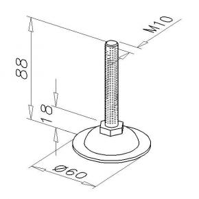Adjustable foot, D10-M10